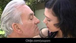 Old hunk penetrates Miho's tiny pussy