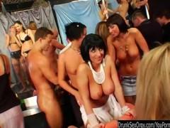 Sinfully club sluts suck cocks in public