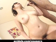 Hot chick Sayaka Minami fucked by two dudes uncensored