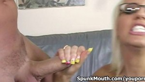 Gant titted fuck tart Jacky Joy tittyfucks cock and gets cum blasted across her face