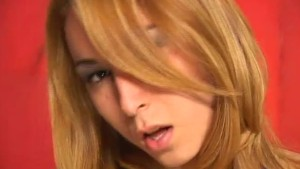 Blonde tranny gets her tits cummed on - Pandemonium