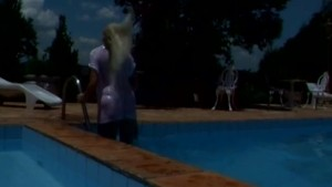 Blonde latina butt fucking by the pool - Shock Wave