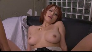 Filthy redhead Asian babe showing off her sexy ass and big tits
