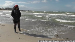 Naughty wife gangbanged at the beach