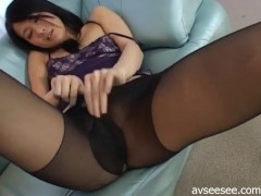 Girl With Long Legs And Stockings Masturbation