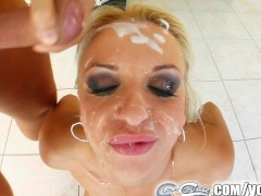 Cum For Cover Kitty's throat gets fucked by multiple cocks