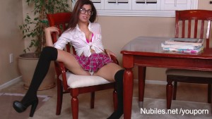 Perky tit teen Ava Taylor plays naughty schoolgirl