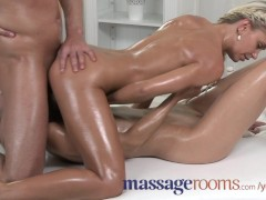 Massage Rooms Sexy young blonde fills her soft wet hole with cock