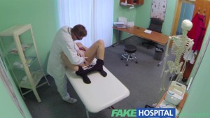 FakeHospital Busty beautiful blonde soaks doctors examination table with her squirting pussy