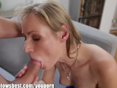 MommyBB Young Mature Blond MILF sucking he cleaning boy
