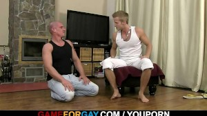 Hunky trainer takes it deep in the mouth and asshole