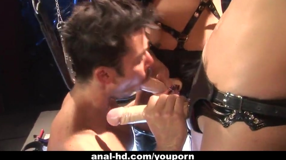 Two Asian femdoms peg their as