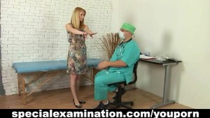 Shy blonde and horny gynecologist