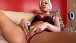 Amazing blonde fucks herself with her dildo on cam