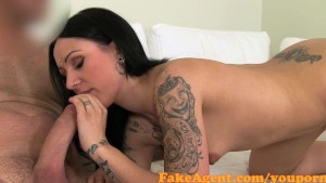 FakeAgent Petite brunette with tattoos takes facial in Casting