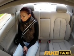 : FakeTaxi Teen student with small body talked into sex by night taxi man