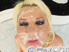Cum For Cover Cute blonde gets multiple facial