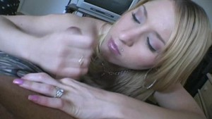 Slutty amateur blonde jerking dick 1