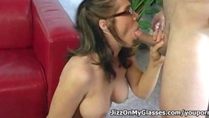 Amateur hottie Beverly Hills sucks big cock then gets cum on her sexy Glasses