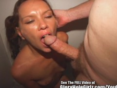 Thin Pigtail Slut Gets Fucked In Glory Hole Booth.