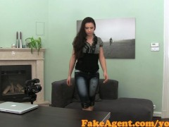 FakeAgent Petite brunette takes juicy Creampie in Casting interview