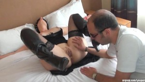 Attached, blindfolded and fucked at the hotel