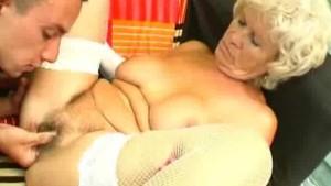 Horny Granny Rides On A Hard Cock