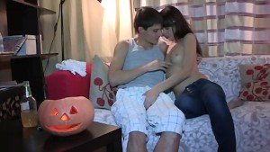 Cute sexy russian girl with small boobies trying anal sex with boyfriend at home