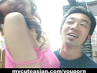 Asian Japanese Teen video: Amateur Asian gf strips in public before a backyard blowjob