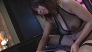 Sexy young Asian babe with big tits teases before sucking his balls