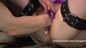 Blonde is bound in chains and fisted by her master