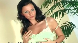 Glamour babe lingerie tease in sheer stockings
