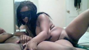 Sexyebonylesbians masturbates withdildoonwebcam