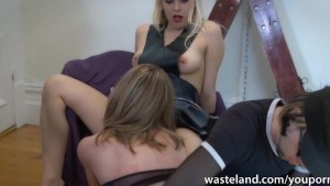 Hitachi wand orgasms for tied up sex slave