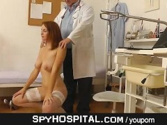Doctor hidden cam in gyno clinic exam room