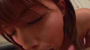 Asian babe loves to suck on a hard rod POV