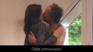 Two pervert sluts fuck with obsolete old man during work