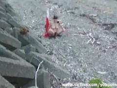 Giant road cone fuck at a public beach