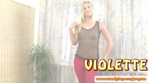 Blonde piss fetish babe fingers her vulva