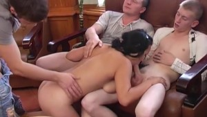 three guys fuck asian Titted