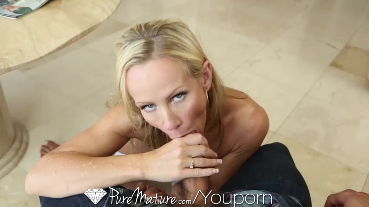Pure Mature Blonde MILF moans, takes dildo and big cock