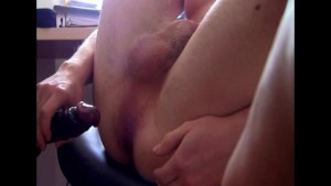 Very young bi boy with black dildo wanks