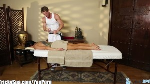 TrickySpa EXCLUSIVE busty MILF reluctant Blow Job