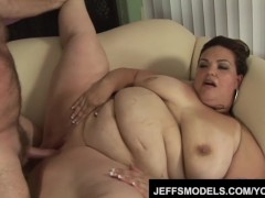 Sexy fatty Angelina flouders while taking cock