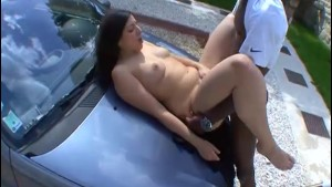 Young french girl has outdoor sex