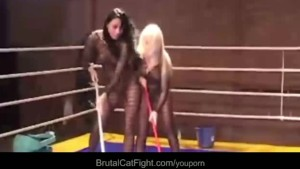 Girls fighting in the boxing ring to get fucked