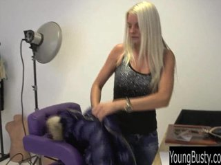 Teen Blonde Big Tits video: Young busty teen Jessie posing nude