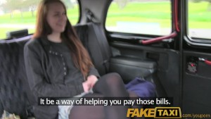 FakeTaxi Brunette student take sex for cash offer from taxi driver