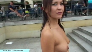 Sexy babe agnes has fun on public streets