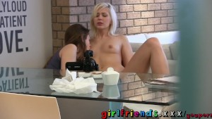 Girlfriends have lunch then sweet shaved pussy for dessert